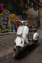 Naklejki Vespa scooter parked in Hosier Lane, Melbourne