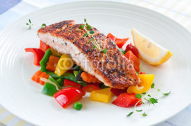 Fototapety Salmon with vegetables