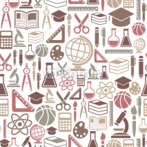 Naklejki seamless pattern with education icons