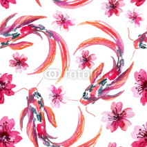Naklejki Watercolor asian koi fishes