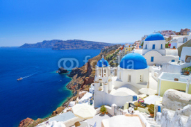 Naklejki White architecture of Oia village on Santorini island, Greece
