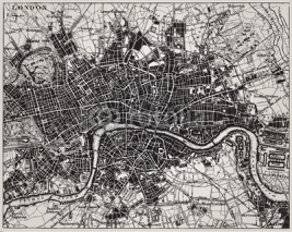Fototapety Historical map of London, England.
