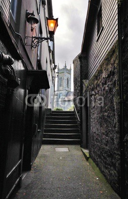 Small street with steps in Kilkenny historical centre