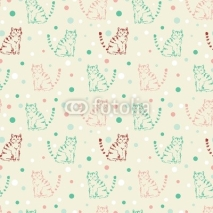 Fototapety Cute funny seamless pattern with cats