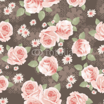 Obrazy i plakaty vintage roses over lace seamless background