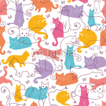 Obrazy i plakaty Vector Colorful Cats Seamless Pattern Background. Cute, hand