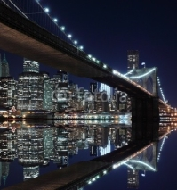 Obrazy i plakaty Brooklyn Bridge and Manhattan Skyline At Night, New York City