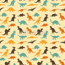 Fototapety vector set silhouettes of dinosaur, retro pattern background