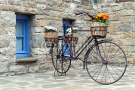 Obrazy i plakaty Rusty bicycle in front of a traditional house in Epirus, Greece