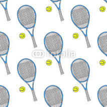 Fototapety Tennis racquets and balls. Seamless watercolor pattern with