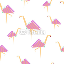 Fototapety Pink flamingo seamless pattern. Origami style. Vector illustration.