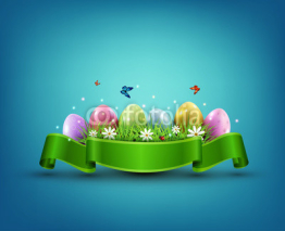 Vector Easter eggs with grass and flowers in green ribbon isolat