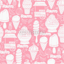 Fototapety Vector pattern with hand drawn ice cream and fruits on pink