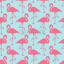 Fototapety Seamless Pattern Flamingos Pink Waves