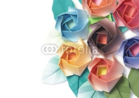 Fototapety 7 origami roses decoration on a white background