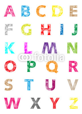colorful geometrical alphabet vector