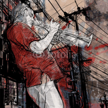 Naklejki trumpeter on a grunge cityscape background