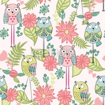 Obrazy i plakaty Vector seamless pattern with owls and flowers