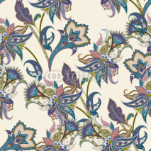 Naklejki Vintage floral and paisley seamless pattern, oriental background