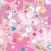 Obrazy i plakaty butterflies and flowers pattern