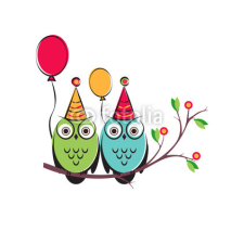 Obrazy i plakaty vector cute owls couple with balloons on the tree branch. Isolated design a white background for happy birthday. children s illustration postcards.