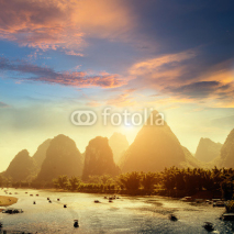 Naklejki Sunset landscpae of yangshuo
