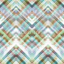 Fototapety Seamless handmade geometric pattern. Zigzag stripes, diagonal lines and diamonds, batik blue and red colors. Watercolor ethnic background.