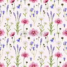 Obrazy i plakaty Wild flowers illustration. Watercolor seamless pattern