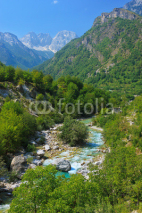 Naklejki Amazing view of mountain river in Albanian Alps