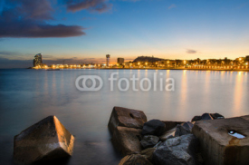 Naklejki Coastline of Barcelona at sunset, Spain