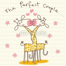 Fototapety Vector Cute Giraffe Couple