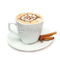 Fototapety Coffee with cinnamon isolated on white