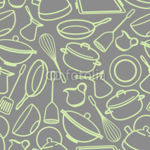 Obrazy i plakaty seamless background with kitchen utensil