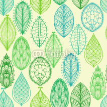Naklejki Seamless hand drawn vintage pattern with green ornate leaves