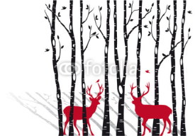 Naklejki birch trees with christmas deers, vector