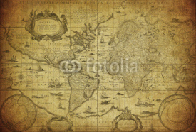 Naklejki vintage map of the world 1635