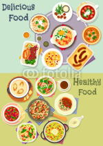 Tasty snacks icon set for menu or cookbook design