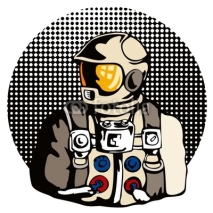 Fototapety Astronaut with halftone dots