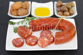 Fototapety smoked sausages with olives and nuts