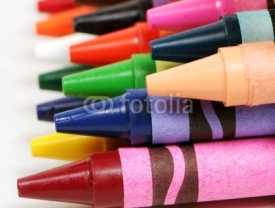 Fototapety macro profile shot of colorful crayons