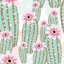 Naklejki Cactus with pink flowers on the light background. Vector seamless pattern with cacti.