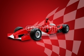 Naklejki red formula one car and racing flag