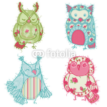 Obrazy i plakaty Various Owl Scrapbook Collection  - for your design, scrapbookin