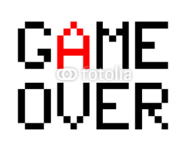 Obrazy i plakaty Game Over, a vector illustration of 8-bit style font of Game Over text.