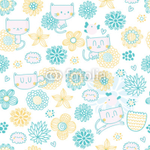Naklejki Cute seamless pattern with funny cartoon cats, birds and flowers