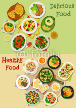 Main meal icon set for food theme design