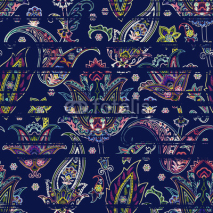 Fototapety Seamless paisley pattern on striped scribble background. Ethnic floral motif