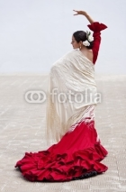 Fototapety Traditional Woman Spanish Flamenco Dancer In Red Dress