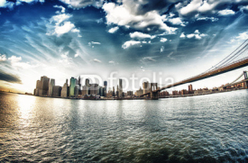 Fototapety Spectacular view of Brooklyn Bridge from Brooklyn shore at winte