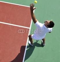 Fototapety young man play tennis outdoor